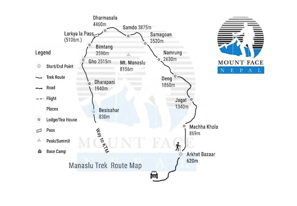 Manaslu Larke Pass Trek Route Map