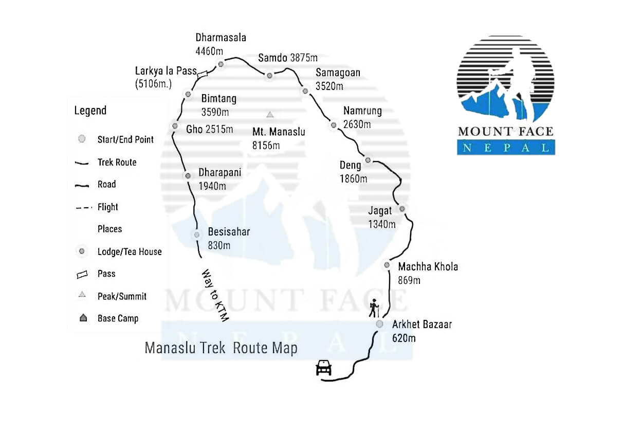 manaslu larke pass trekking map