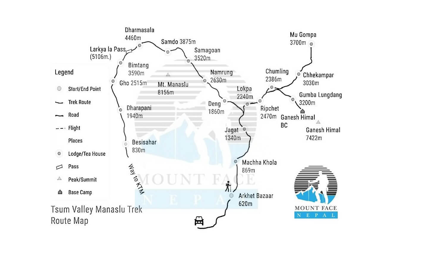 manaslu and tsum valley trekking map