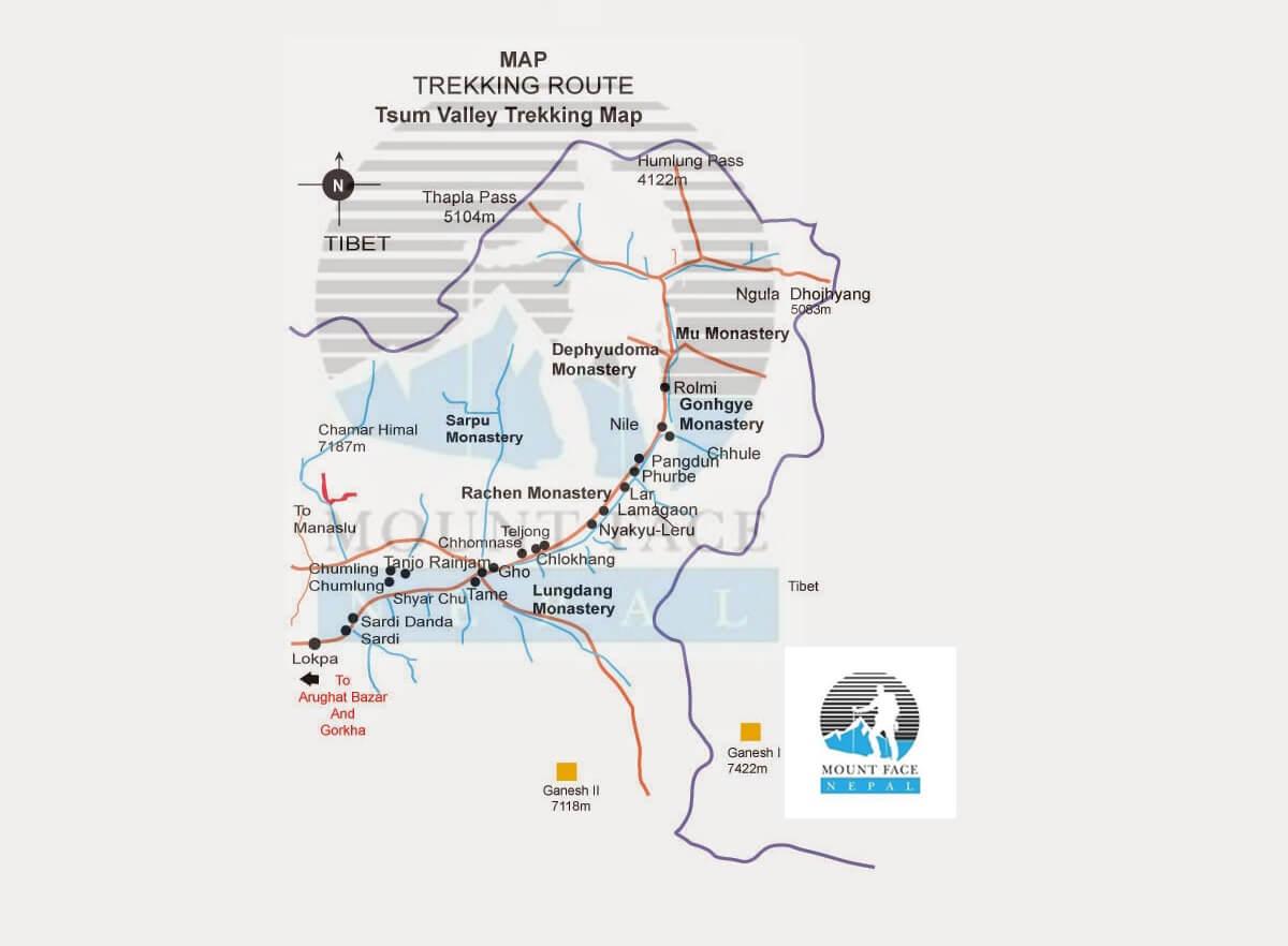tsum valley trekking map