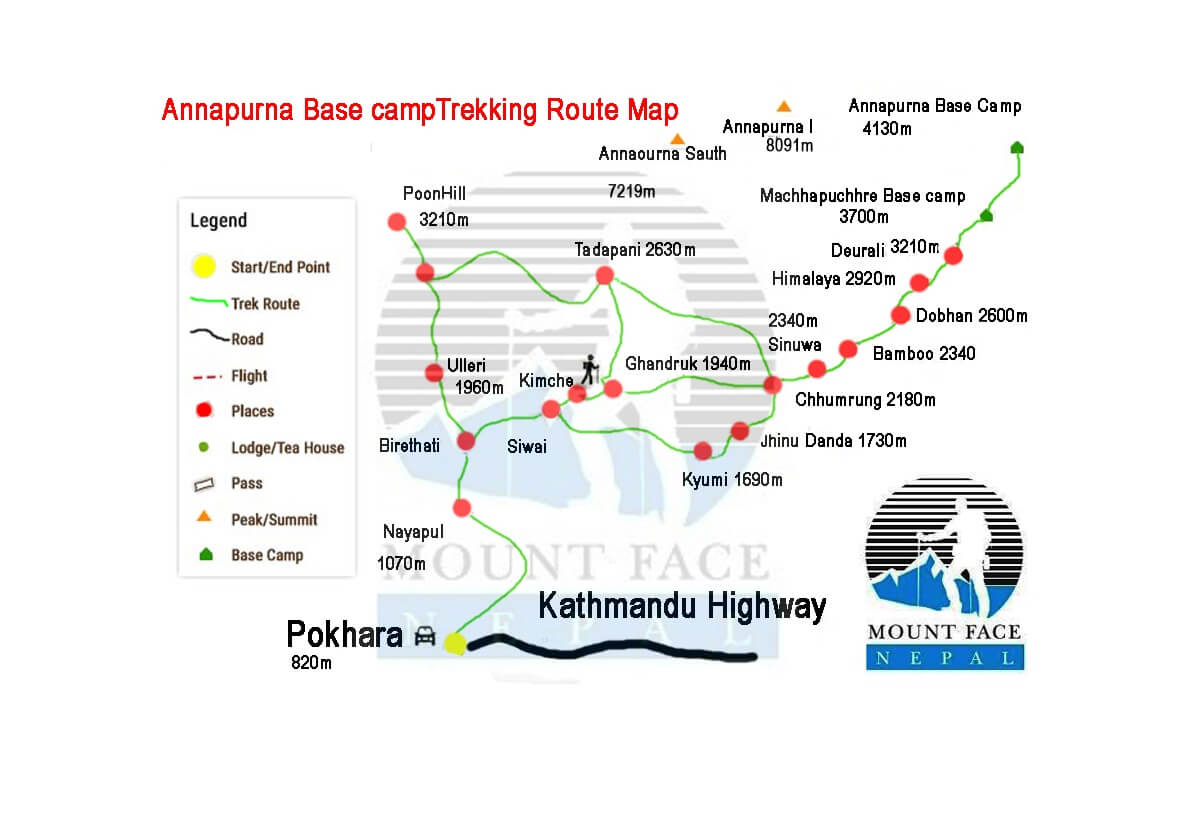 annapurna base camp trekking map