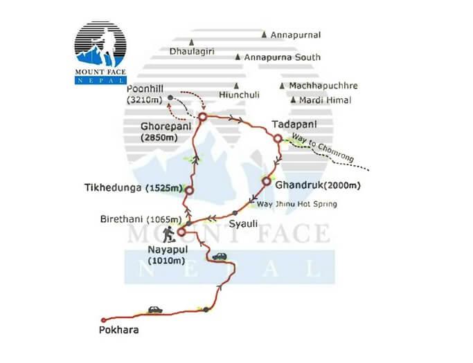 Ghorepani Poonhill Map