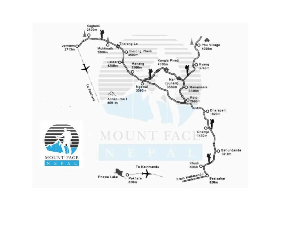 Nar Phu Valley Trek Route Map