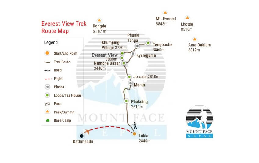 everest view trek route map