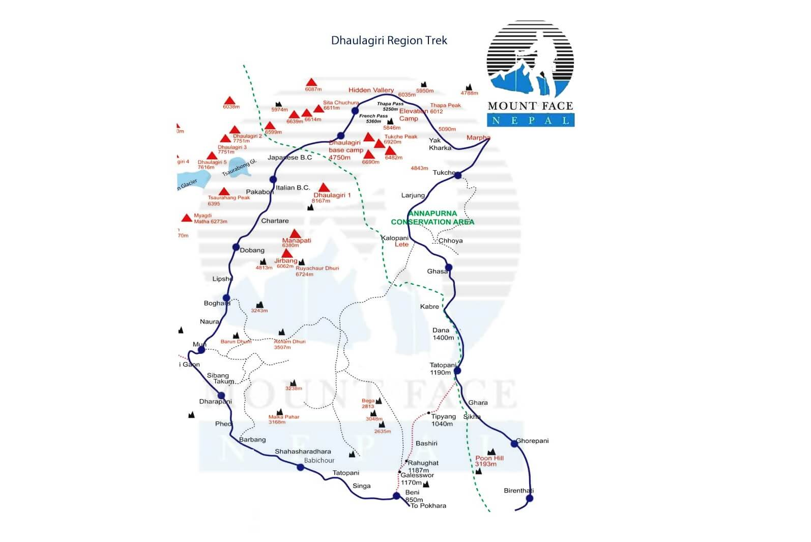 dhaulagiri base camp trekking map