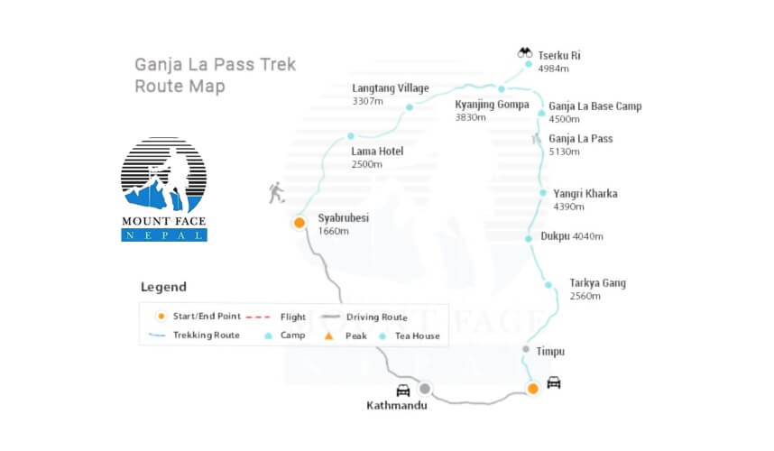 langtang ganja la pass trek map