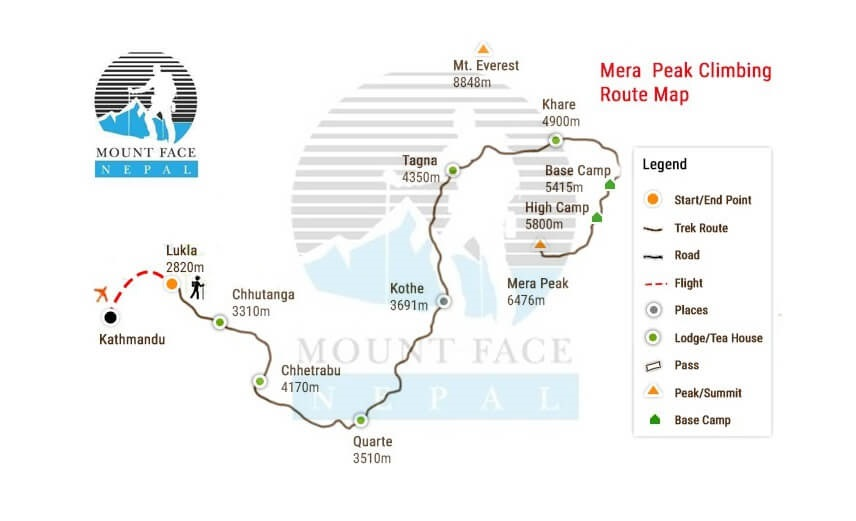 Mera Peak Climbing route map