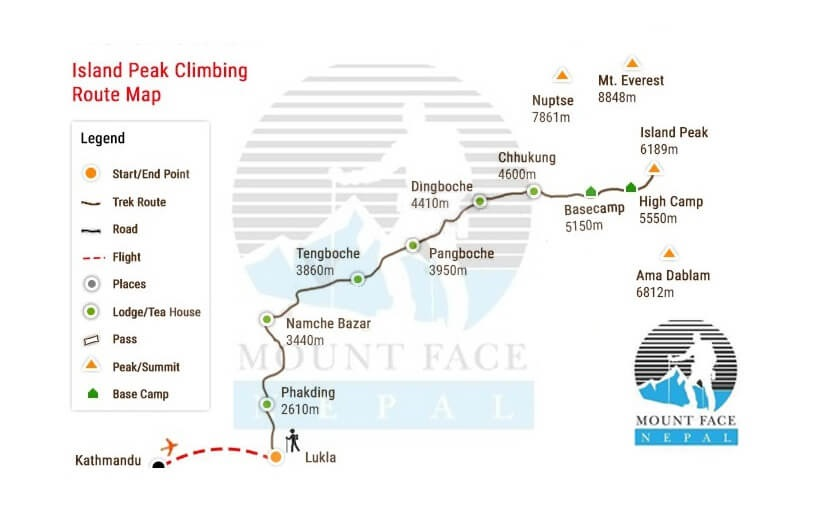 Island Peak Climbing Route Map